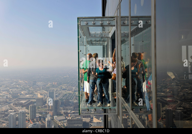 Visitors on the 412 meter-high observation deck, Skydeck, Willis tower, formerly Sears Tower, Chicago, Illinois - Stock Image