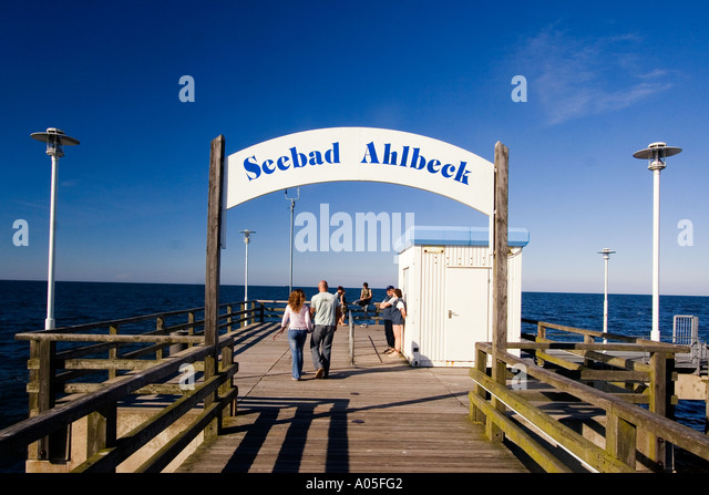 Usedom Ahlbeck wooden pier - Stock Image