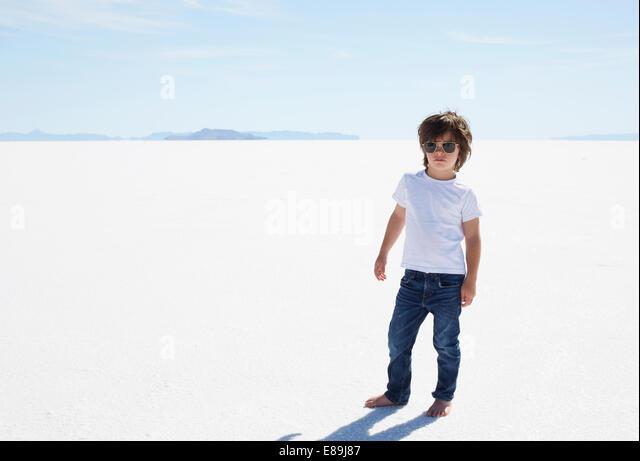 Fashionable boy at Bonneville Salt Flats - Stock-Bilder