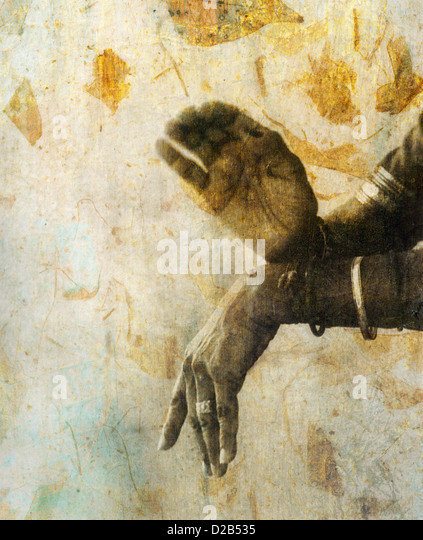 The hands of a female indian dancer in a sacred mudra. - Stock Image
