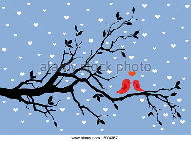 birds in love, kissing on a tree, vector background - Stock Image