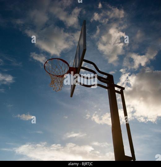 USA, Utah, Salt Lake City, basketball hoop against sky, low angle view - Stock Image