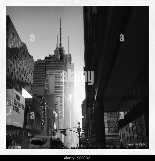 Black and white scene in manhattan New York heading towards Times Square - Stock Image