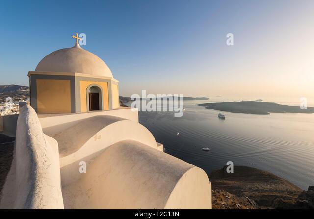 Greece Cyclades Islands Santorini Island (Thira) church in Fira - Stock Image