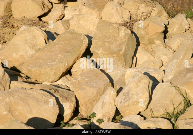 Pile of old stone saved from Itaian farmhouse ruin ,Le Marche ITALY - Stock Image
