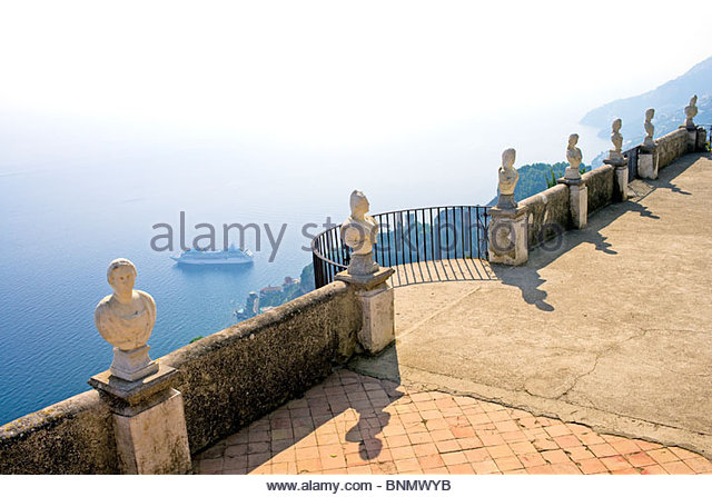 Panorama  of Villa Cimbrone Gardens statues and the Amalfi Coast with cruise ship, Ravello, Province of Salerno, - Stock Image