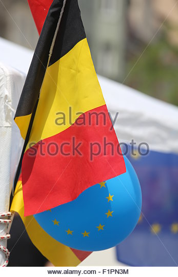 EU symbols on view in a German city in summer - Stock Image