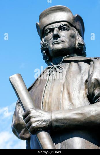 Wisconsin Kenosha Harbor Park Christopher Columbus statue Italian explorer history - Stock Image