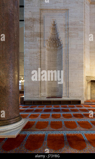 Marble wall with embedded niche in the exterior wall of Sultan Ahmet Mosque, Istanbul, Turkey - Stock Image