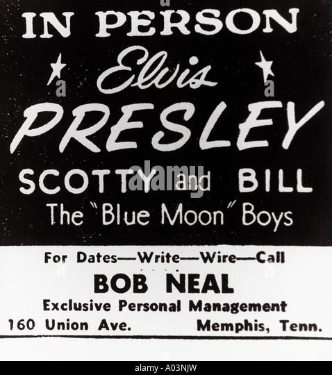 ELVIS PRESLEY 1950er Jahre Poster für Elvis und seine Begleitband Stockbild