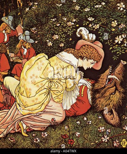 BEAUTY AND THE BEAST ein Ende des 19. Jahrhunderts farbige Holzstich Illustration zum Märchen Stockbild