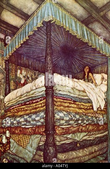 Prinzessin auf der Erbse eine 1911 Illustration des klassischen Märchens Stockbild