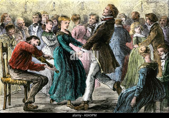 Paare tanzen zur Musik ein Fiedler in einem ländlichen Hoedown 1800er Jahren Stockbild