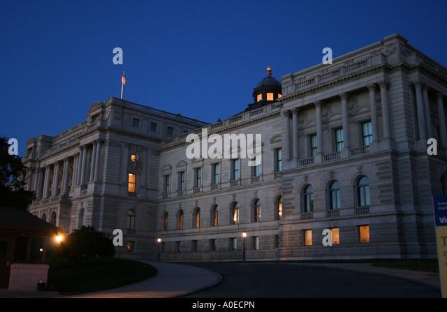 Bibliothek des Kongresses Thomas Jefferson Building Washington DC in der Abenddämmerung Oktober 2006 Stockbild