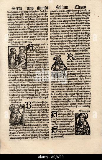 Original Inkunabel-Blatt in lateinischer Sprache von Hartmut Schedel Liber Chronicorum gedruckt durch Schoensperger Stockbild