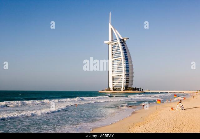 Das Wahrzeichen von Dubai Burj Al Arab weltweit erste sieben-Sterne-Hotel klassifiziert als 5-Sterne-deluxe gebaut Stockbild