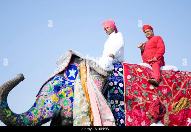 Niedrigen Winkel Blick auf ein junger Mann und ein senior Mann Reiten ein Elefant, Elephant Festival, Jaipur, Rajasthan, Stockbild