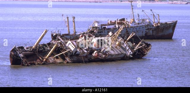 Uruguay Montevideo Schiffswracks Stockbild