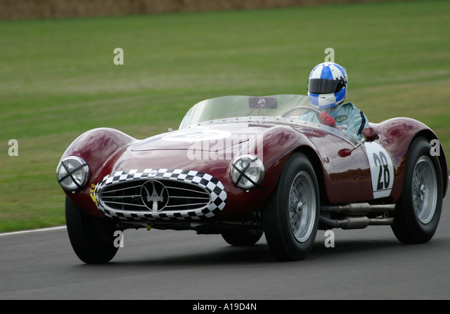 Maserati A6GCS 1955 an mit Fahrer Burkhard Von Schenk bei der 2006 beim Goodwood Revival, Sussex, England. Stockbild