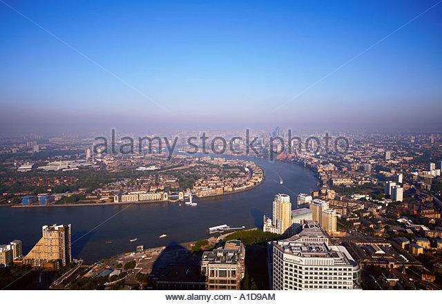 SKYLINE VON LONDON GESEHEN VON CANARY WHARF TOWER, DOCKLANDS, LONDON, UK Stockbild