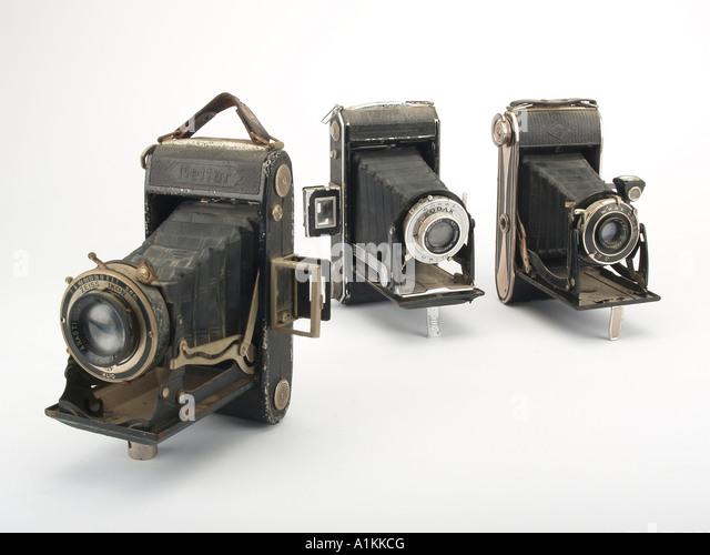 eine Auswahl von alten Stil Filmkameras Stockbild