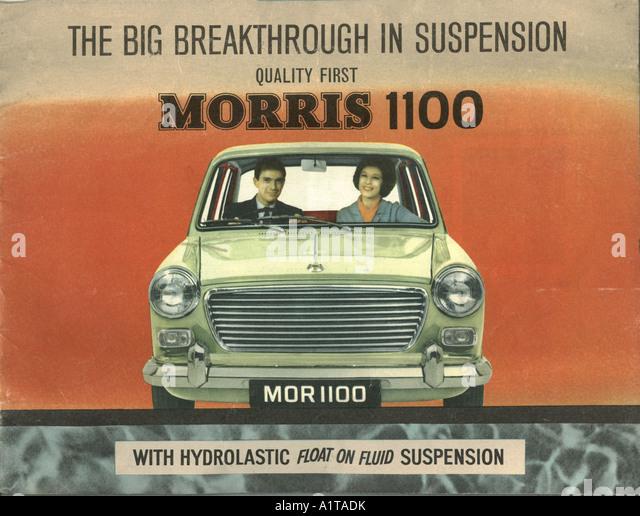 Werbeprospekt für Morris 1100 1963 Stockbild