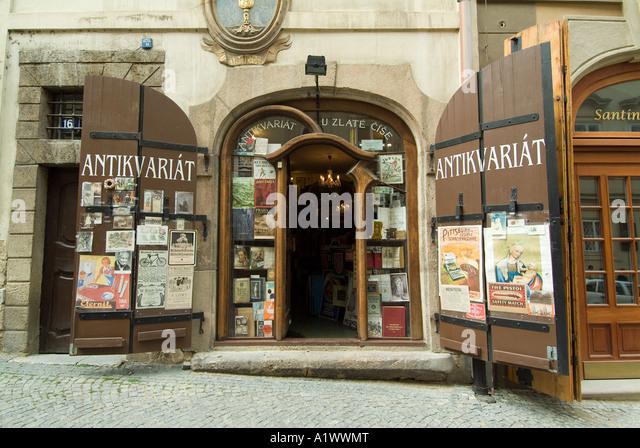 Antiquariat, Mala Strana Viertel in Prag. Stockbild