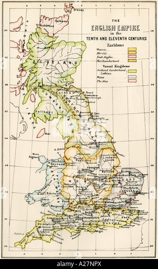 Landkarte von England in die 10. und 11. Jahrhundert zeigen Earldomes und Vasall Königreiche Stockbild