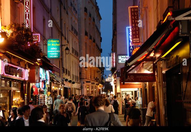 Paris, Nachtleben im Quartier Latin Stockbild
