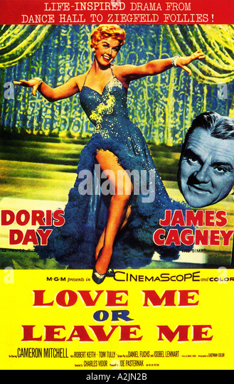 Plakat für 1955 film Liebe mich verlassen oder mich mit Doris Day und James Cagney Stockbild