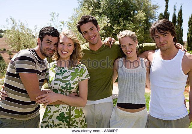 Fünf Freunde Stockbild