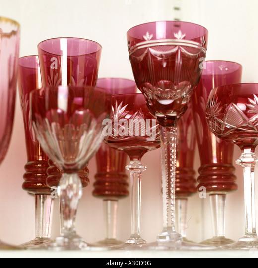Rote Kristall Glas Stockbild