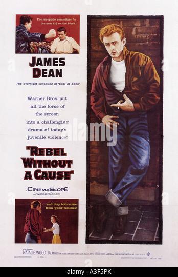 REBEL WITHOUT A CAUSE Plakat 1955 Warner film mit James Dean Stockbild