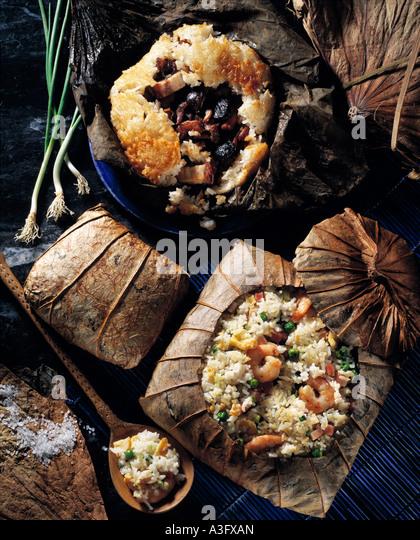 Chinesische Lotus Blatt Reis Meeresfrüchte Garnelen redaktionelle asiatische Stockbild