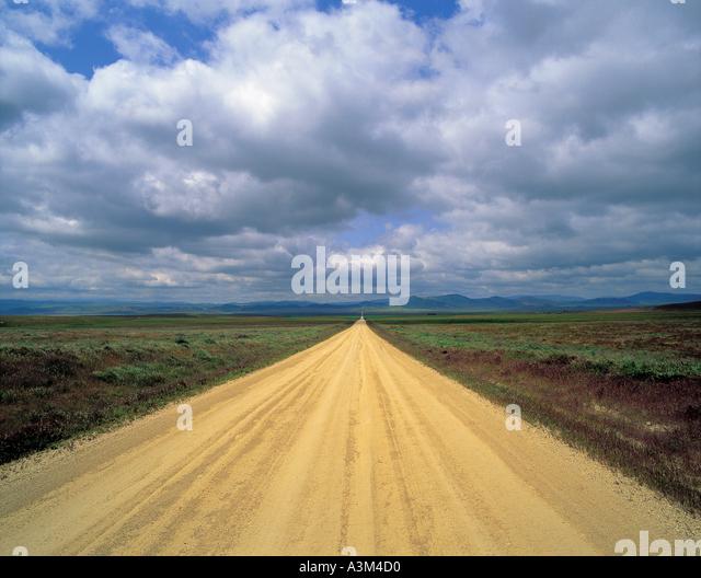 Straße Natur Himmel Wolken Felder Stockbild
