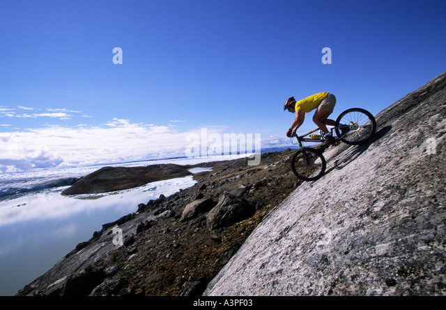 Mountainbiken in Grönland Stockbild