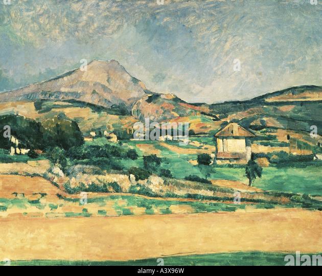 """Fine Arts, Cezanne, Paul, (1839-1906), Malerei,"" La Montagne Sainte-Victoire "", (""Blick auf Stockbild"