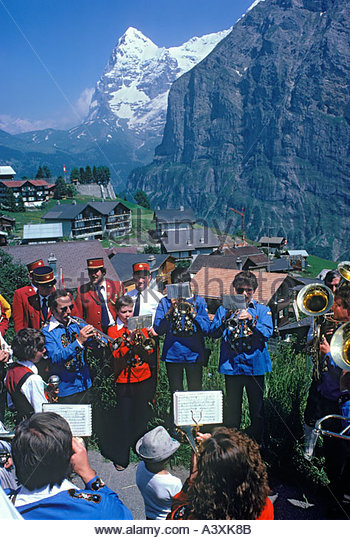 Bandwettbewerb in Mürren im Berner Oberland Schweiz Stockbild