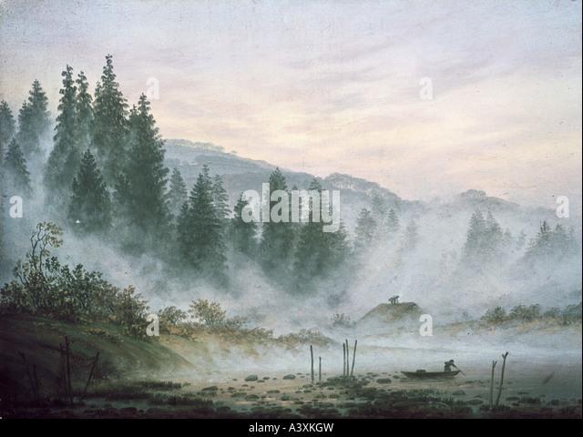 """""""Bildende Kunst, Friedrich, Caspar David (1774-1840), Malerei,""""Der Morgen""""(""""Morgen""""), Museum Stockbild"""