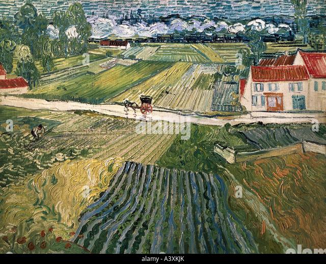 """""""Künste, Vincent van Gogh (1853-1890), Malerei,""""Landschaft mit Pferdekutsche und trainieren im Hintergrund"""", Stockbild"""