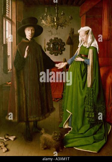 """""""Fine Arts, Eyck, Jan van (ca. 1390-1441), Malerei,""""Die Arnolfini-Hochzeit"""", 1434, Öl auf Platte, Stockbild"""