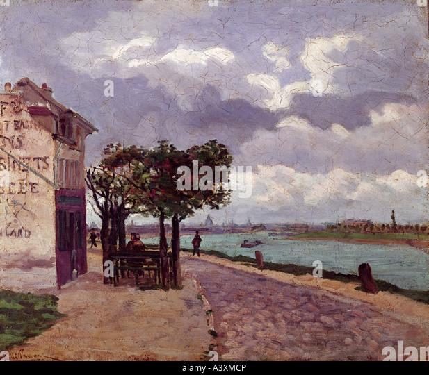 """""""Bildende Kunst, Guillaumin, Armand, (1841-1927), Malerei,""""Banken des Seine-Flusses in der Nähe von Stockbild"""