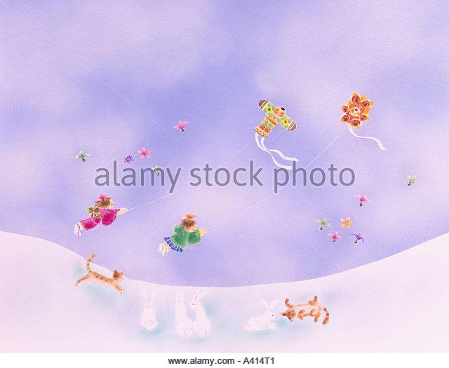 Kite Schnee Himmel Wolken Katze Kaninchen Federball Illustration Stockbild