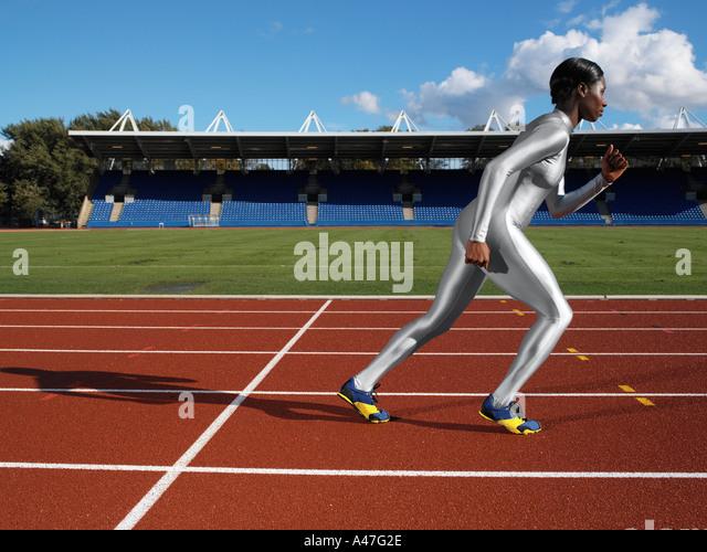 Sprinter auf Rennstrecke Stockbild