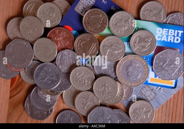Geld und Kreditkarten. Stockbild