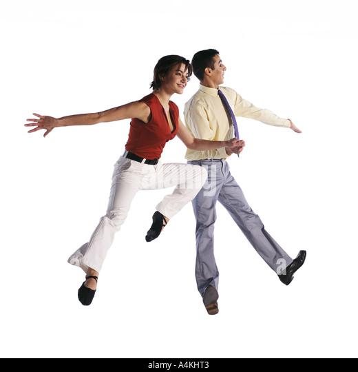 Mann und Frau springen in verschiedenen Posen Stockbild
