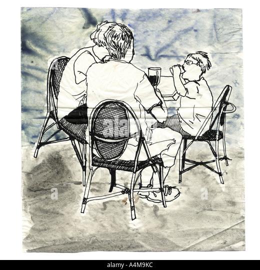 Leute am Tisch sitzen Stockbild