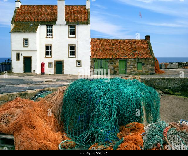 GB - Schottland: Cottage in Pittenweem Harbour Stockbild