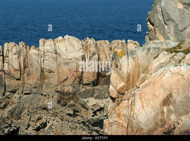 Ile de Brehat, Bretagne, Frankreich, Küsten Felsformationen Stockbild