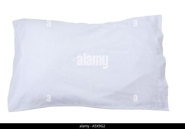Kissen mit weißen Kissenbezug Stockbild